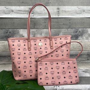 MCM top zipper shopper bag tote soft pink purse